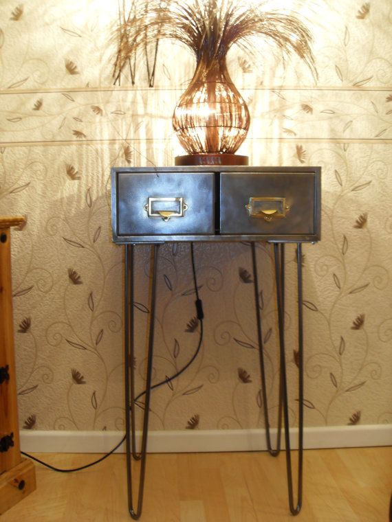 i have for sale a stunning 2 drawer metal index card filing cabinet on hairpin legs