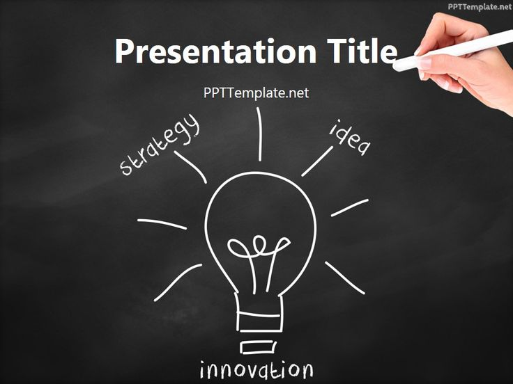 Free Innovation Bulb Chalk Hand Black PPT Template