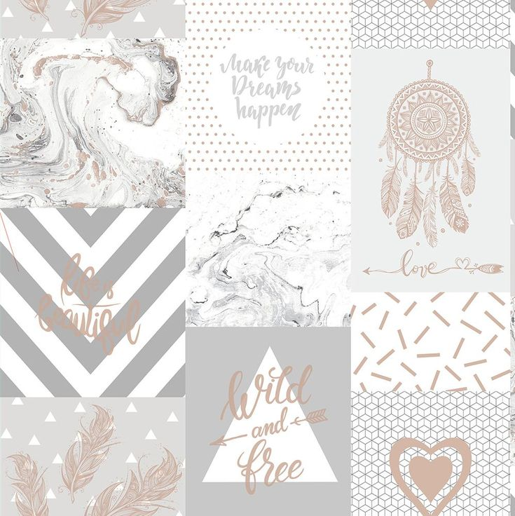 Collage Wallpaper Wild and Free by Albany - Grey/ Rose Gold - 90211 iPhone X Wallpaper 581316264377125231 4