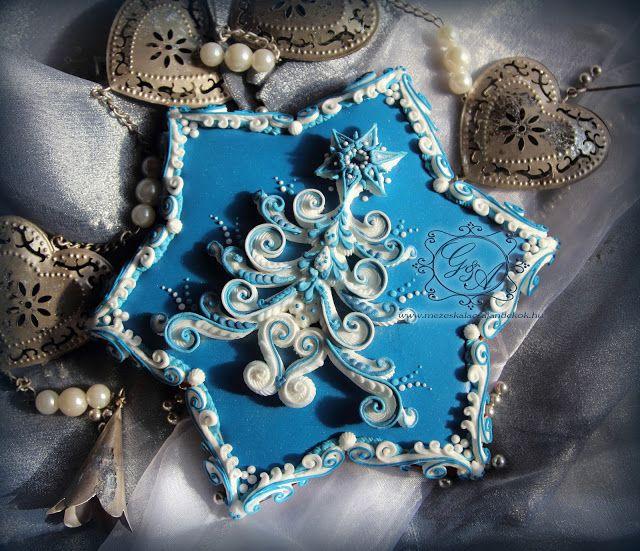Ékes Mézeskalács Ajándkékok: Kék Karácsonyi Mézeskalács Csillag