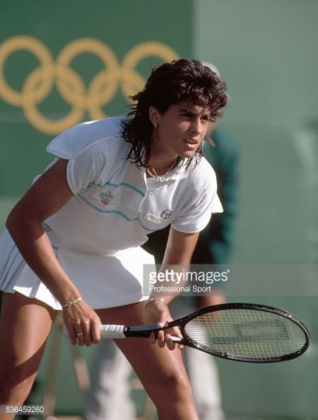 "Gabriela Sabatini of Argentina is photographed during her Ladies Final Gold Medal match against Germany's Steffi Graf at the 1988 Olympics in Seoul, South Korea. Sabatini lost to Steffi in straight sets, as Steffi completed her ""Calendar Golden Slam"" having won all four Grand Slam titles and Olympic gold in the same calendar year. Steffi had also beaten Sabatini earlier that summer in the final of the U.S. Open, thus capturing the final leg of the ""Grand Slam""."