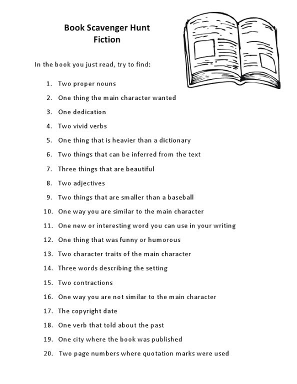 Book Scavenger Hunt - part of 4-H reading project?