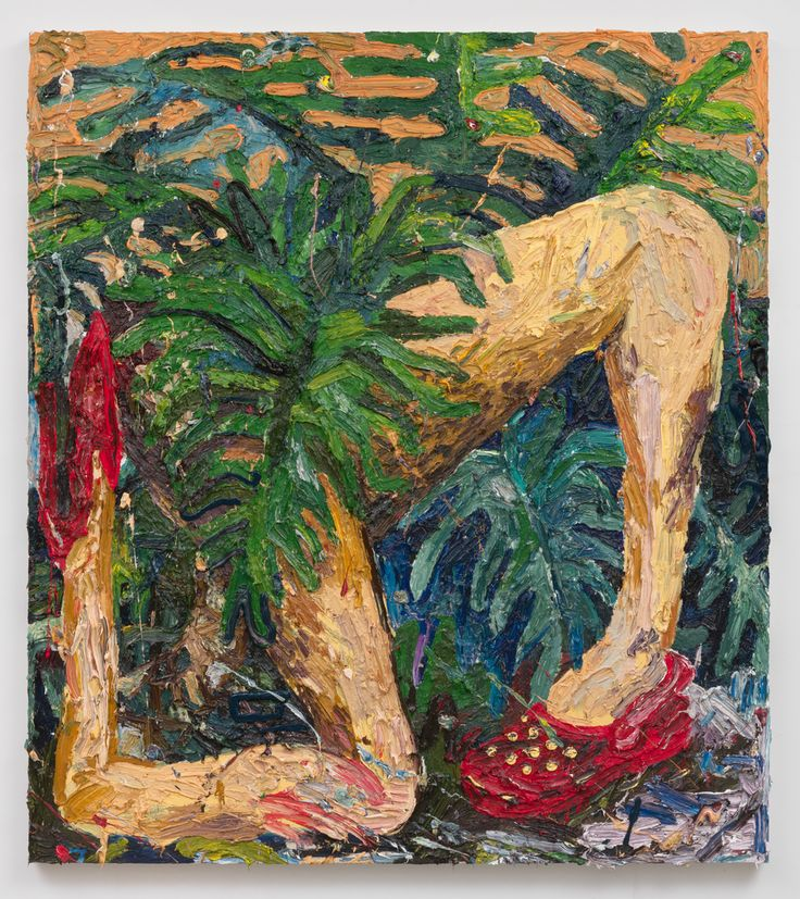 Alex Becerra Red Crocs and Heels 2016 Oil and canvas stretched on panel 72 x 64 in (182.88h x 162.56w cm) AB011