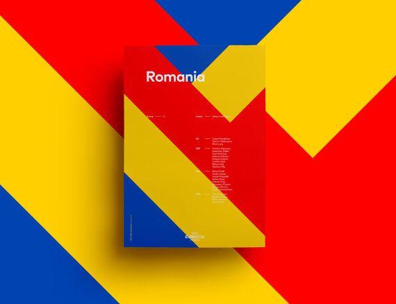 Minimalist EURO 2016 Team Poster Romania Digital Download by SFGD