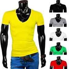 Young Rich Herren T Shirt Kurzarm RedBridge by Cipo Baxx Deep V Neck Mens New