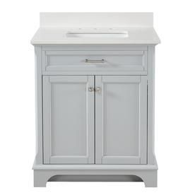 Allen + Roth Roveland Light Grey Undermount Single Sink Bathroom Vanity With Engineered Stone Top (Common: 30-In X 22-In