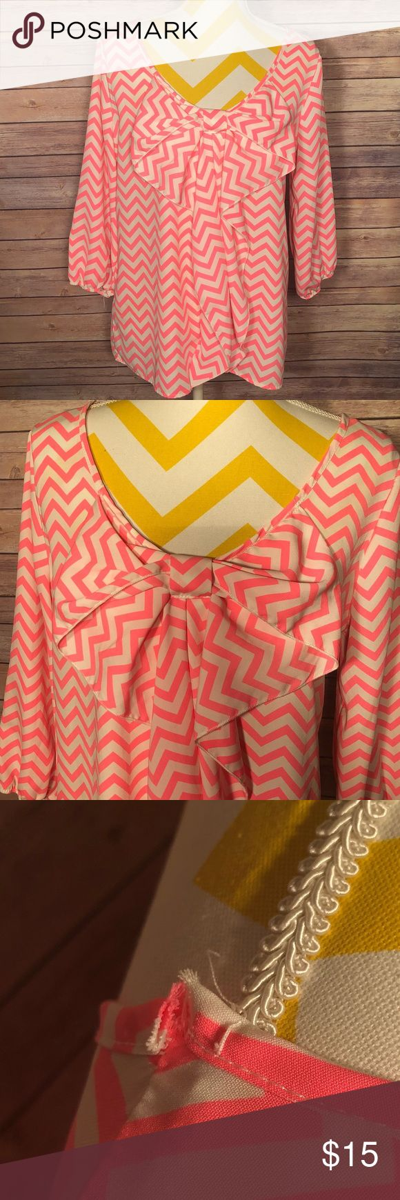 "Pink && white chevron bow blouse Preloved 🎀 in good condition   No stains or major snags - small snag on the right shoulder Elastic ""wrists"" in sleeve - only goes down slightly past elbow   📬SHIPPED WITHIN 24 HOURS OF PURCHASE 📬    💌 USUALLY THE FOLLOWING MORNING 💌    ⛔️ NO TRADES ⛔️    🐾 PET FRIENDLY HOME 🐾 Auditions Tops Blouses"