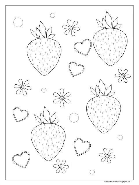 .: Ausmalbild Erdbeeren