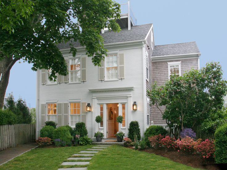 SW: 'Extra White' exterior and 'Sandbar' on shutters/front door w/ cedar shake siding