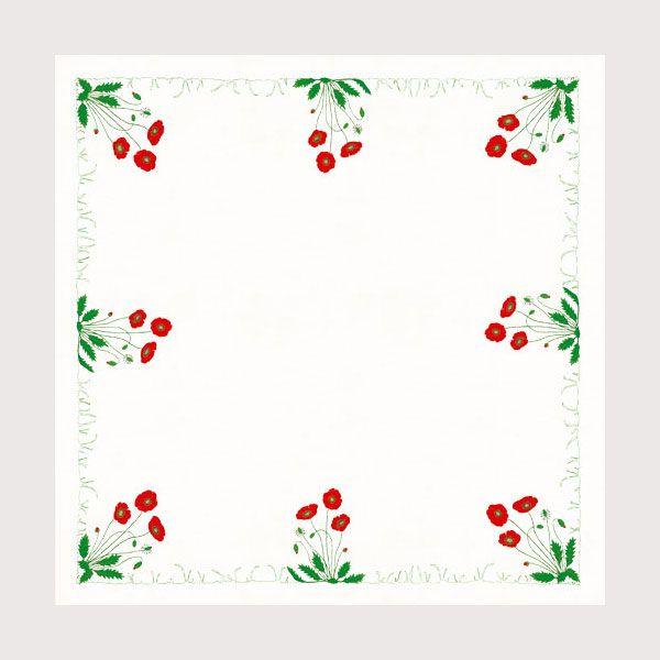Nappe Coquelicots Bonheur des Dames nappé imprimée à broder de façon traditionnelle Réf. 6113 Dimension 90 x 90 cm Création de Cécile Vessière