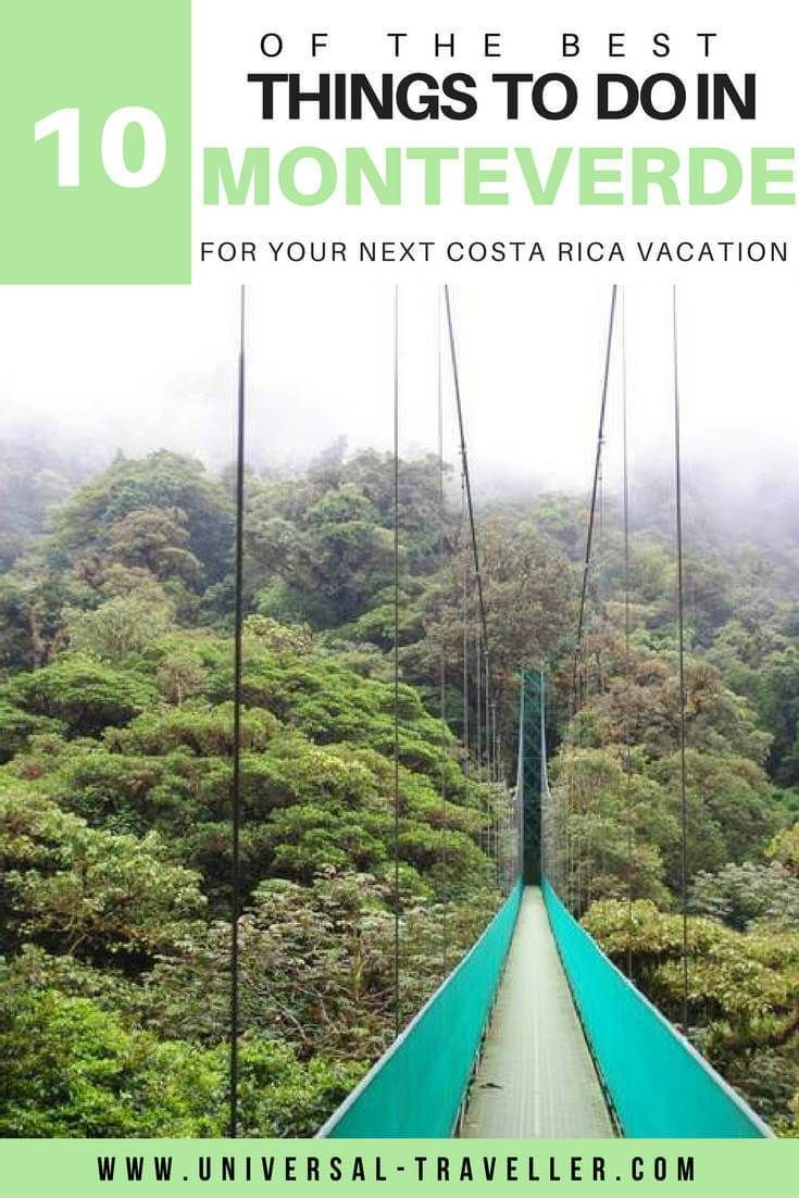 10 Best things to Do in Monteverde, Costa Rica. Canopy Tour, Hanging Bridges, Bungee Jumping, Monteverde Night Tour and much more.
