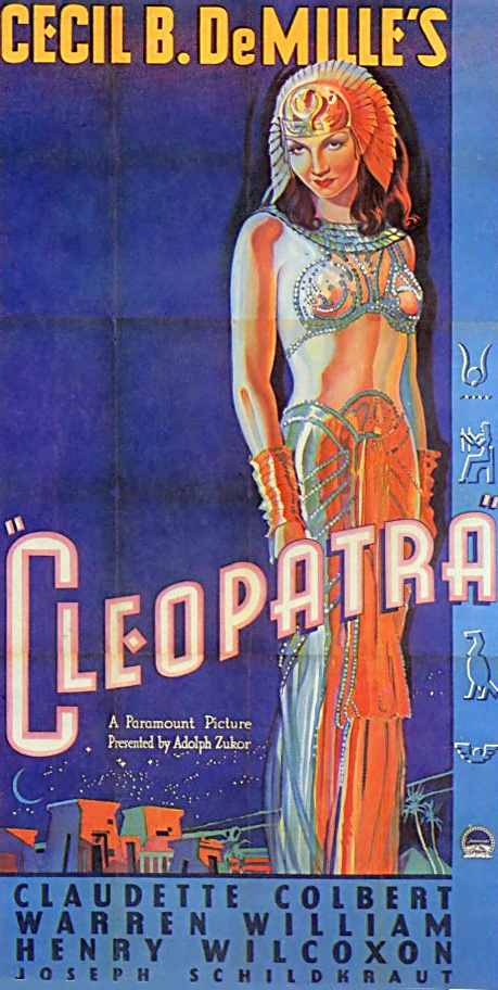 """Claudette Colbert as Cleopatra in Cecil B. DeMille's """"Cleopatra,"""" 1934 the US sheet"""