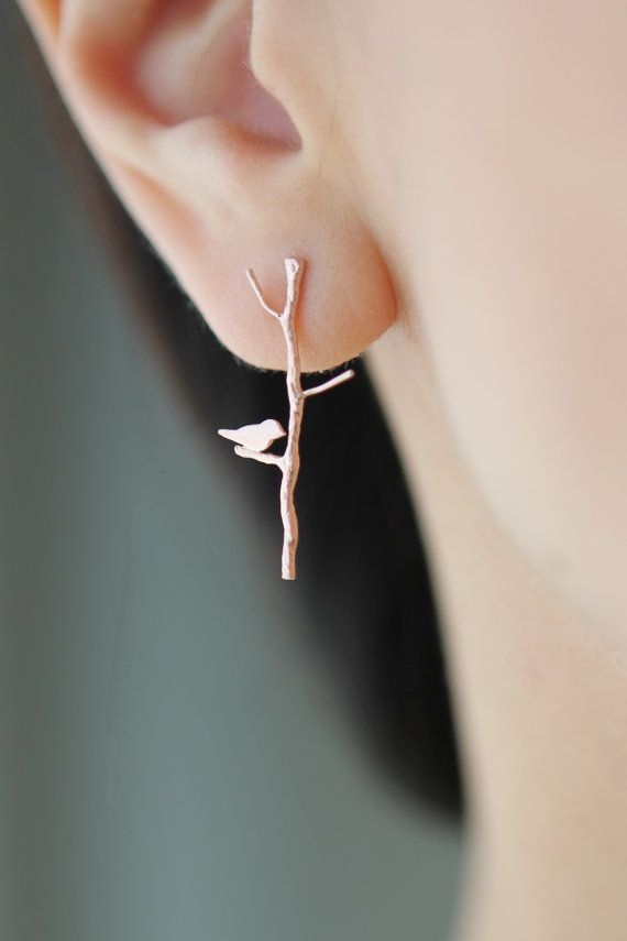NEW PINK Love Birdie on twig long earrings in rose gold finish on Etsy, $30.00