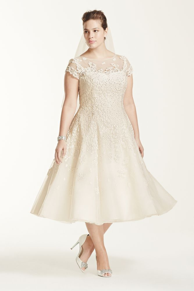 Short Lace Plus Size Oleg Cassini Cap Sleeve Tea Length Wedding Dress - Ivory, 18W