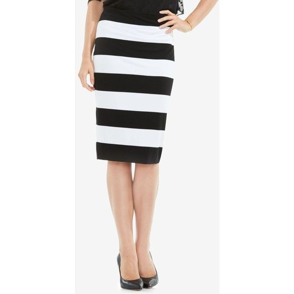 Vince Camuto Striped Pencil Skirt ($69) ❤ liked on Polyvore featuring skirts, white knit skirt, white knee length skirt, white striped skirt, pull on skirts and knit skirt