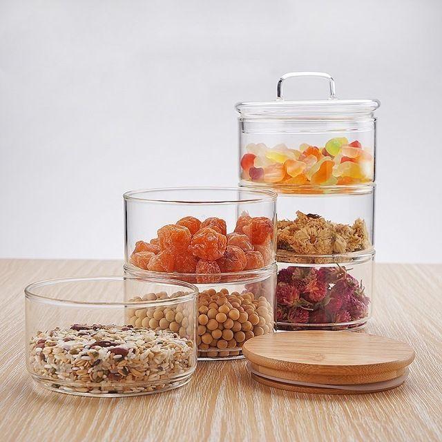 New 1200ml 3 Layer Mason Borosilica Glass Jar Kitchen Food Bulk