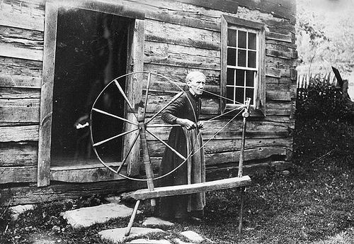 Grandma Bowman with her spinning wheel. Bicknell Photograph Collection, North Carolina State Archives. The photos in this collection are spectacular and uniquely document remote western Burke County in the Blue Ridge Mountains, and the Linville RIver, Linville Gorge, and Linville Falls in the first two decades of the 20th century.