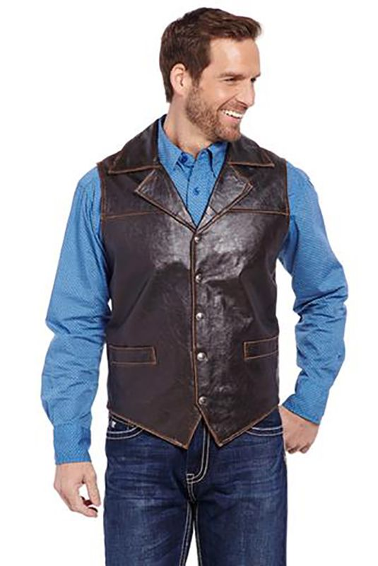 Mens Cripple Creek Choc Leather Vest Concealed Carry | AA Callister