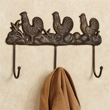 cast iron rooster wall hook rack
