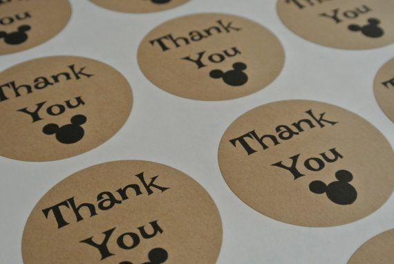 12 Round Mickey Head Design Thank You Stickers by PrintedRibbon4U