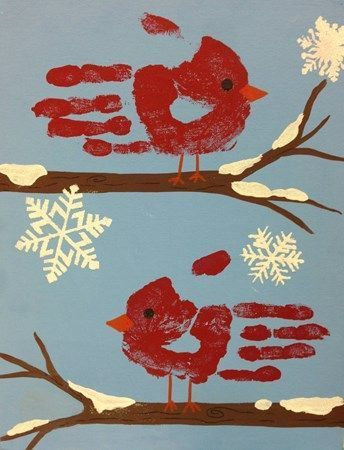 Handprint Winter Cardinal and Snowflakes craft for…