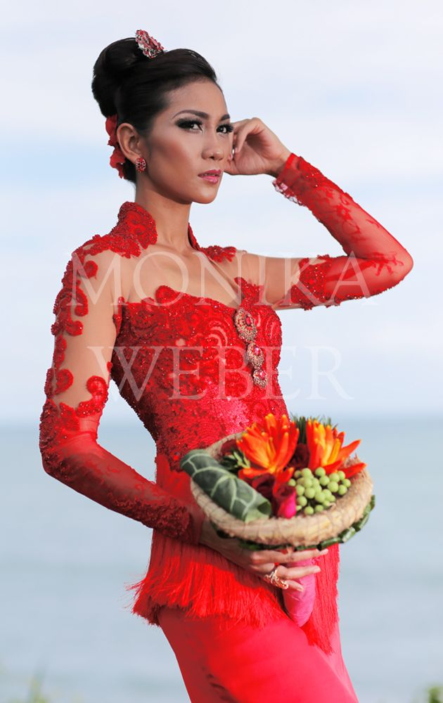 Kebaya by Monika Weber, Bali - Indonesia Red Kebaya with tussle