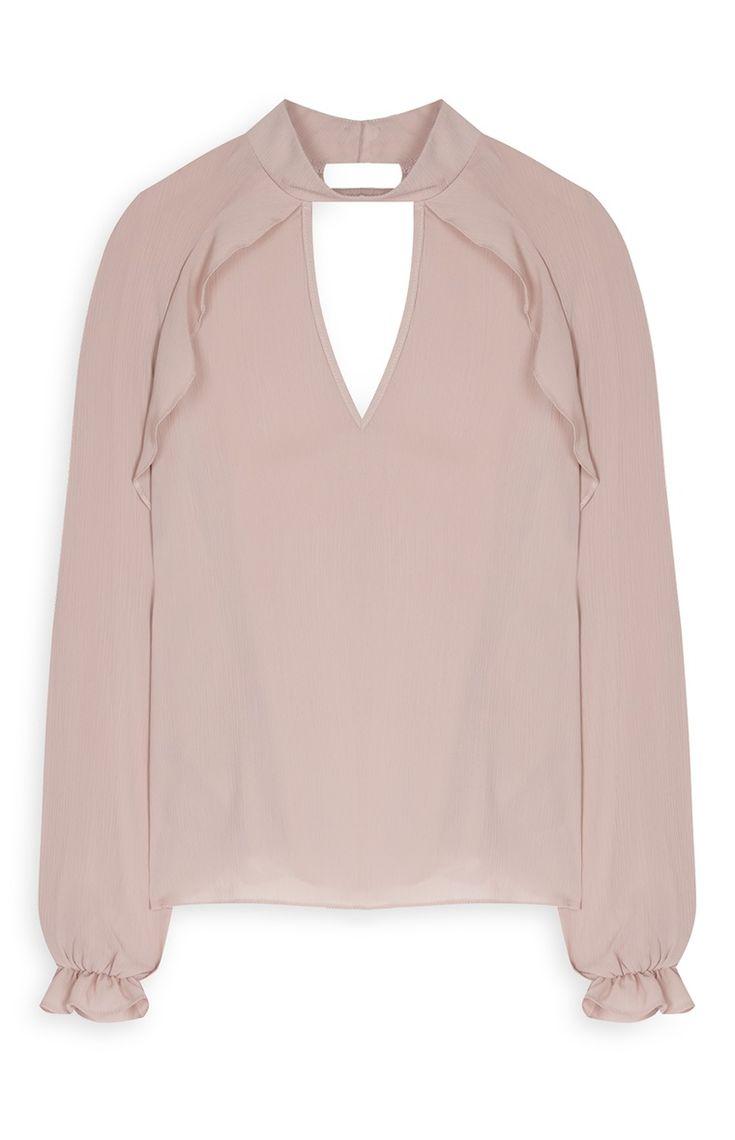 Primark - Blusa folhos de decote justo rosa-velho