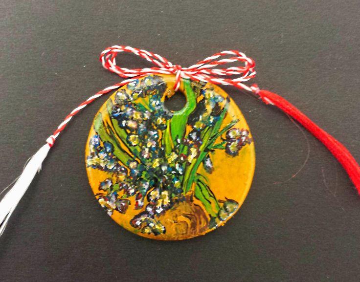 """Pendant -""""Irises"""" by Vincent van Gogh- Miniature"""
