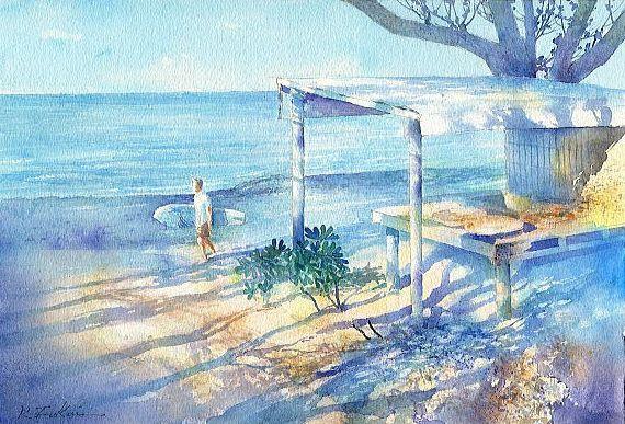 【水彩画テラス】沖縄の風景「朝陽(竹富島)」水彩画
