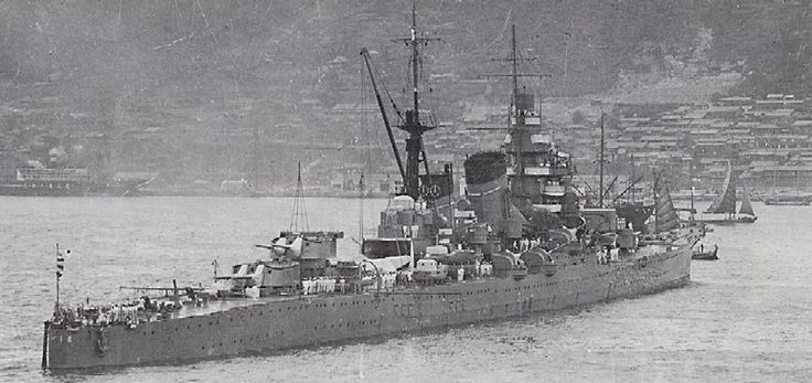 Japanese heavy cruiser Myoko - 10 x 8 in guns, 'Long Lance' torpedo armament, 36 knots: she and her sisters were formidable opponents.  Severely damaged by a US submarine after eventful service in December 1944, she was surrendered in a crippled state at Singapore at the end of the war.