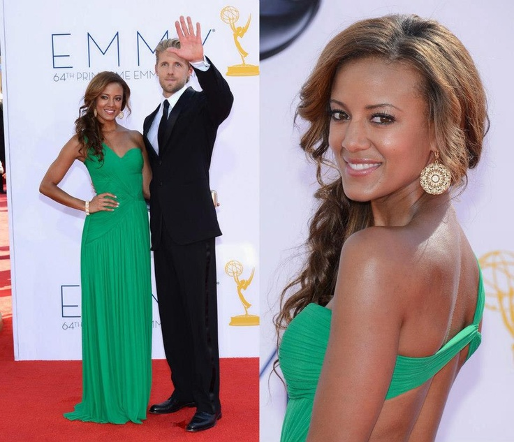 Spotted! Heather Hemmens looked gorgeous in Terani Couture (Style J1138) with boyfriend, Matt Barr, at the Primetime Emmys!