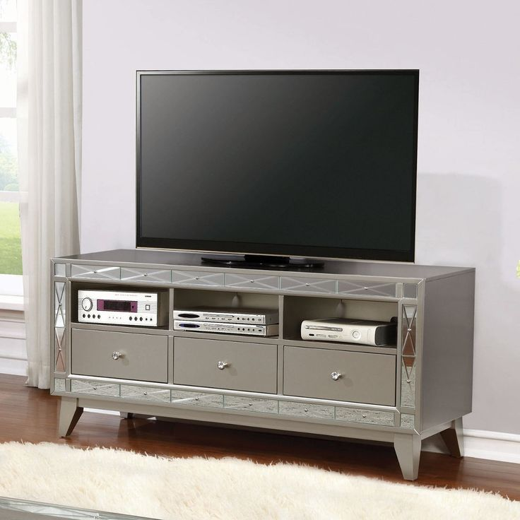 701692 Mercury Mirrored TV Stand | Savvy Discount Furniture