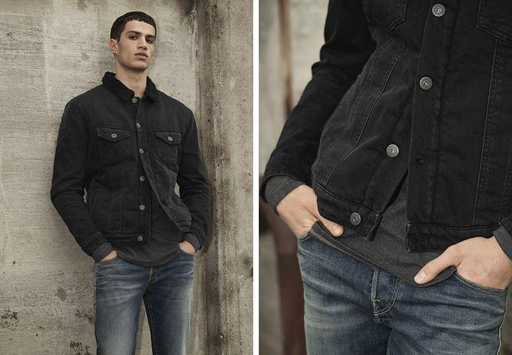 Black denim jacket, grey basic tee, distressed authentically worn blue denim jeans   JACK & JONES #outfit #men #look