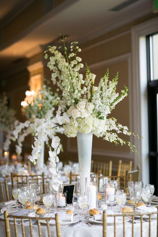 White wedding centerpiece - Cody Raisig Photography