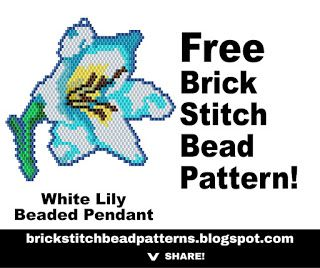 Free printable pdf download White Lily Flower Spring or Wedding brick stitch beaded pendant or brooch pattern, color chart, labeled color chart, and black and white letter chart. http://brickstitchbeadpatterns.blogspot.com/2017/03/white-lily-flower-brick-stitch-beaded.html
