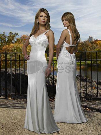 Abiti da Sposa Semplici-Bianco con scollo a v vita abiti da sposa semplici