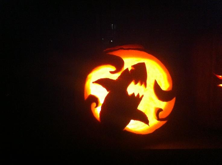 My shark pumpkin that I carved last night!