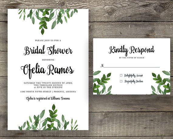 Printable or Printed Emerald Green Silver Calligraphy Bridal Shower Invitation Modern Calligraphy Bridal Party Invitation with Reply Card