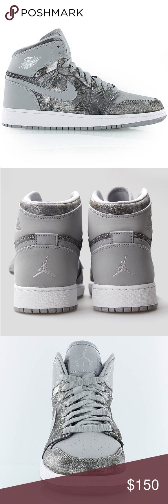 AIR JORDAN 1 RETRO HIGH WOLF GREY NIKE SHOES Brand new with box, box has no lid. Shoes are a size 6.5 Youth. Please look at sizing chart which is posted. Women's size 8 Jordan Shoes Sneakers