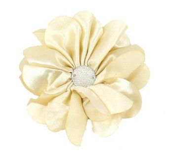 Dazzle Me Satin Rhinestone Flower Clip or Pin in 6 Colors Flower Colors: Ivory Flower Greatlookz. $7.99