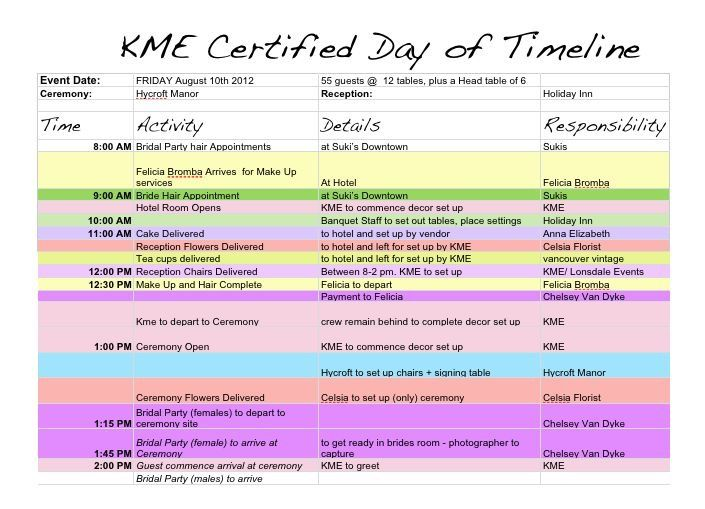 Event Itinerary Template Best Event Planning Template Ideas - Wedding day timeline template free