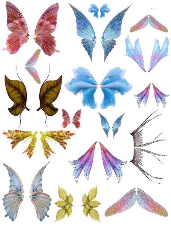 Schmetterling Flügel Drachen fliegen oder Fee Flügel lebendige rosa Blues Bastelbogen PNG und JPEG Digital Download Vol 1