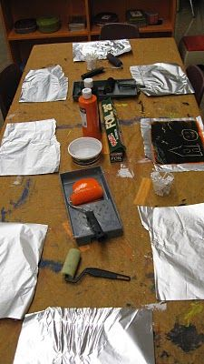 Tin Foil Painting- roll paint onto tin foil and then draw with a qtip :)