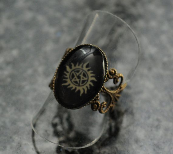 Supernatural bronze filigree ring: anti demon possession symbol
