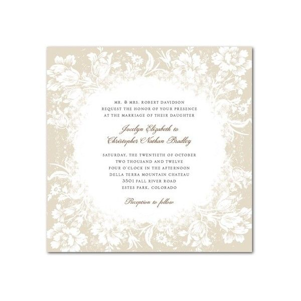 Signature White Textured Wedding Invitations - Snowy Blooms by Wedding... ($1.84) ❤ liked on Polyvore