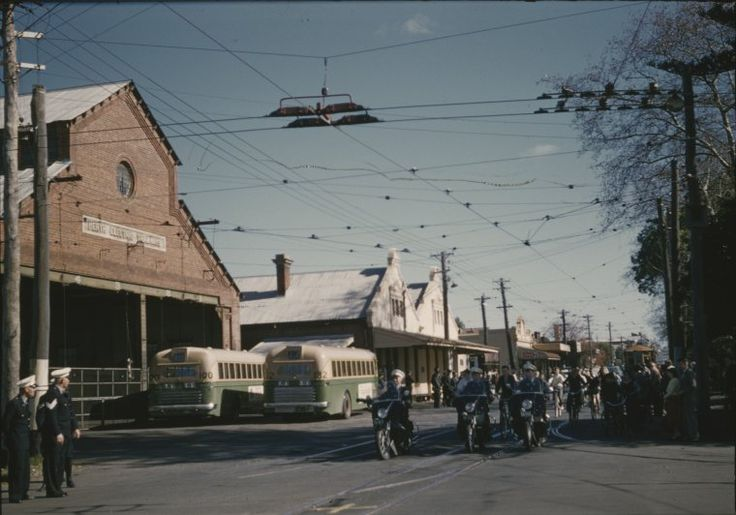 136081PD: Tram No. 66 in Hay St., East Perth with police escort on its last trip back to the Carbarn, 19 July 1958  https://encore.slwa.wa.gov.au/iii/encore/record/C__Rb2913585