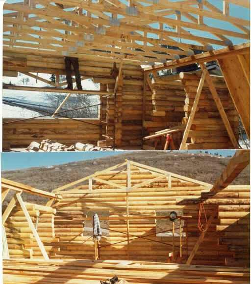 20 best log truss timber images on pinterest journals for Log cabin roof construction
