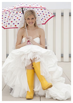 Fun Rain Wedding Photo  (not a bad idea to have these things in place we need to go to plan B!)