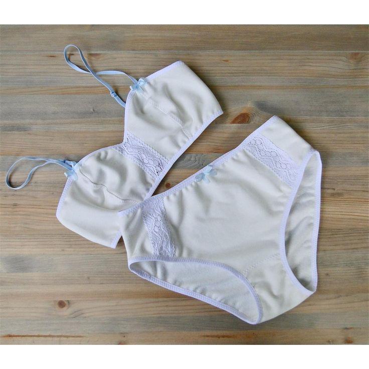 White cotton bralette panty set organic french terry