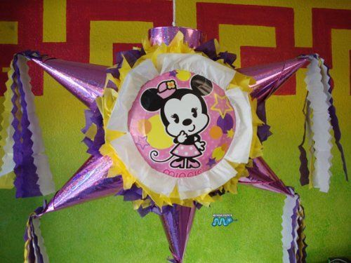 "PINATA Disney Minnie Mouse Classic Retro /Piñata Hand Crafted 26""x26""x12""[Holds 2-3 Lb. Of Candy][For Any Occasion] by Pinetera. $32.99. This Pinata measures:   Length= 26""   Height= 26""   Width=  12""  Hand Crafted Beautifully Detailed Traditional Cone Star shaped Piñata /Pinata with opening on top for stuffing candy's, toys and other items of your choice.  Pinata is Sturdy enough to hold 2-4 pounds of goodies.  This is the real thing, not a table ..."